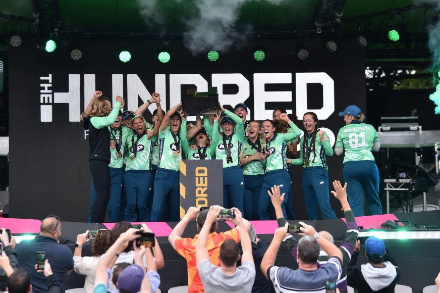 LONDON, ENGLAND - AUGUST 21: during The Hundred Final match between Southern Brave Women and Oval Invincibles Women at Lord's Cricket Ground on August 21, 2021 in London, England. (Photo by Nathan Stirk - ECB/ECB via Getty Images)