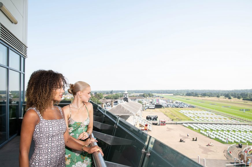 X-Factor winners Halle Williams and Virginia Hampson from Real Like You attended the scorching hot Cazoo St Leger Festival in Doncaster today, where temperatures soared to 29 degrees centigrade.