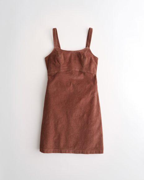 Scoop Neck Corduroy Mini Dress (Dark Brow)